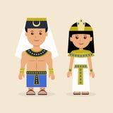 Mâle et femelle dans le vêtement égyptien illustration de vecteur