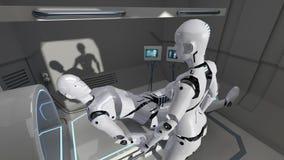 Mâle et robots femelles d'infirmière dans une installation médicale futuriste rendu 3d Photo libre de droits