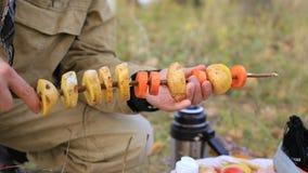 Mâle plantant des légumes sur une branche d'érable de brochette Plan rapproché clips vidéos