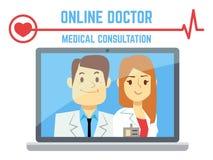 Mâle plat et docteur en ligne féminin, service de santé d'ordinateur d'Internet illustration libre de droits