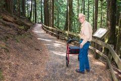 Mâle supérieur actif trimardant avec le marcheur sur l'itinéraire aménagé pour amateurs de la nature dedans Photo libre de droits