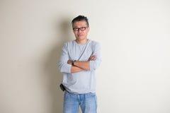 Mâle supérieur asiatique dans occasionnel Images libres de droits