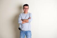 Mâle supérieur asiatique dans occasionnel Photographie stock libre de droits