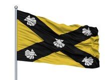 Mât de drapeau d'Alor Setar City Flag On, état de la Malaisie, Kedah, d'isolement sur le fond blanc illustration stock