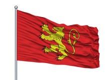 Mât de drapeau de Kuala Terengganu City Flag On, Malaisie, état de Terengganu, d'isolement sur le fond blanc illustration libre de droits