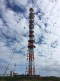Mât par radio sur l'île de Heligoland Photo stock