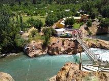 Médano的热量浴在圣克莱芒特,安第斯山范围,智利南部 库存照片