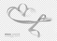 Móżdżkowego nowotworu świadomości miesiąc Siwieje koloru faborek Odizolowywającego Na Przejrzystym tle Wektorowy projekta szablon ilustracji