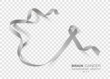 Móżdżkowego nowotworu świadomości miesiąc Siwieje koloru faborek Odizolowywającego Na Przejrzystym tle Wektorowy projekta szablon royalty ilustracja