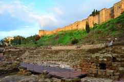 MÃ ¡ laga罗马剧院废墟在西班牙 免版税库存图片