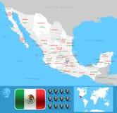 México-Karte Lizenzfreies Stockfoto