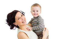 Mãe alegre com menino do miúdo Fotografia de Stock
