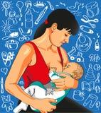A mãe alimenta o bebê. Imagem de Stock Royalty Free