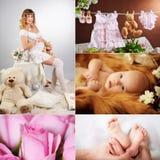 Mãe bonita com um recém-nascido fotos de stock