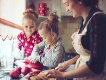 Mãe com as crianças na cozinha Fotografia de Stock Royalty Free