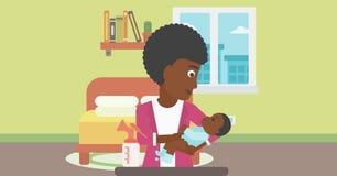 Mãe com a bomba do bebê e de peito ilustração royalty free