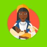 Mãe com a bomba do bebê e de peito ilustração do vetor