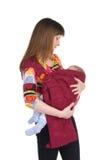 Mãe com o bebê no estilingue imagens de stock royalty free