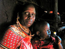 Mãe com o filho dos povos de Watussi Fotografia de Stock