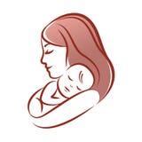 Mãe com seu bebê, silhueta do vetor do esboço Foto de Stock