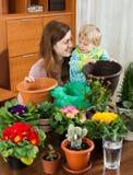 Mãe com uma criança na sala com as plantas de florescência em uns potenciômetros Fotografia de Stock Royalty Free