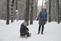 A mãe do inverno leva o filho em um pequeno trenó nas madeiras nevado foto de stock royalty free