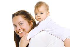 Mãe e bebê do close up que fazem o exercício Fotografia de Stock Royalty Free