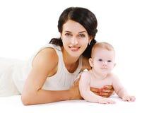 Mãe e bebê felizes do retrato Fotos de Stock