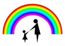 Mãe e criança com arco-íris Ilustração do Vetor