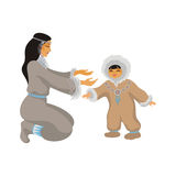 Mãe e criança de Chukchi Fotografia de Stock