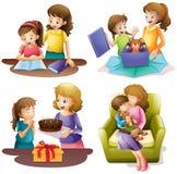 Mãe e criança que fazem atividades diferentes ilustração stock