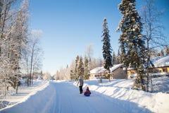 Mãe e criança que sledding no inverno imagem de stock