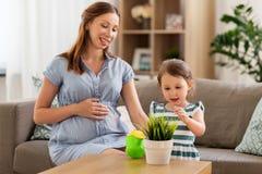 Mãe e filha grávidas com planta home foto de stock royalty free
