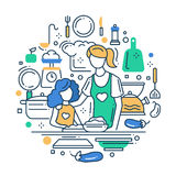 Mãe e filha na cozinha - alinhe a composição do projeto Foto de Stock Royalty Free