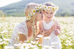 A mãe e a filha no campo da margarida florescem Fotografia de Stock