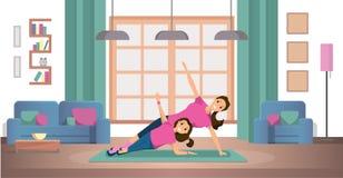 Mãe e filha que fazem exercícios no vetor da pedra de afiar ilustração do vetor