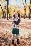 Mãe e filho que têm o divertimento no parque do outono entre as folhas de queda Conceito do outono imagem de stock