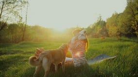 Mãe e jogo pequeno do bebê no por do sol Mãe feliz com seu filho do litte na floresta filme