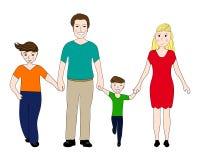 Mãe e pai felizes da família com dois filhos ilustração stock