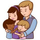 Mãe e pai que abraçam suas crianças adotadas ilustração do vetor