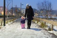 Mãe e sua criança pequena que andam no parque nevado no inverno fotografia de stock royalty free