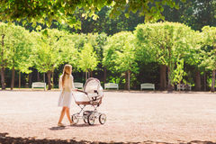 Mãe feliz com o carrinho de criança no parque Foto de Stock Royalty Free