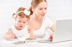 Mãe feliz da família e bebê da criança em casa que trabalha no computador Imagens de Stock Royalty Free
