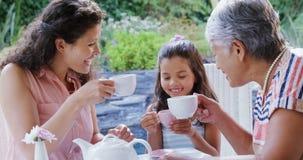 Mãe, filha e avó brindando os copos de chá no jardim 4K 4k video estoque