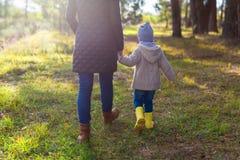 Mãe nova que guarda a mão da sua criança ao andar na floresta fotografia de stock royalty free