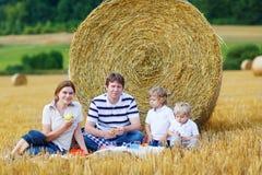 Mãe, pai e dois filhos pequenos tendo o piquenique Imagens de Stock