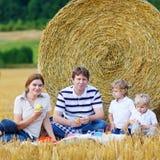 Mãe, pai e dois filhos pequenos tendo o piquenique Imagem de Stock Royalty Free