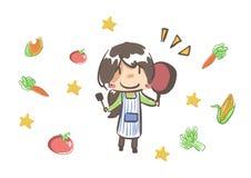 Mãe que cozinha o alimento do vegetariano Foto de Stock Royalty Free