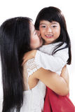 Mãe que dá o beijo com sua filha imagem de stock royalty free