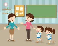 Mãe que envia crianças à escola ilustração royalty free